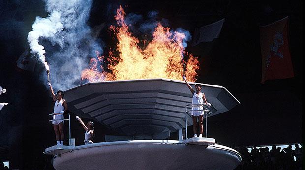 La flamme olympique aux Jeux Olympiques