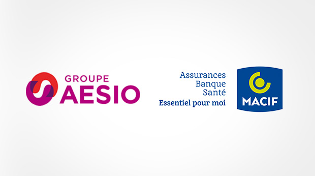 Les logos des groupes Aésio/Macif