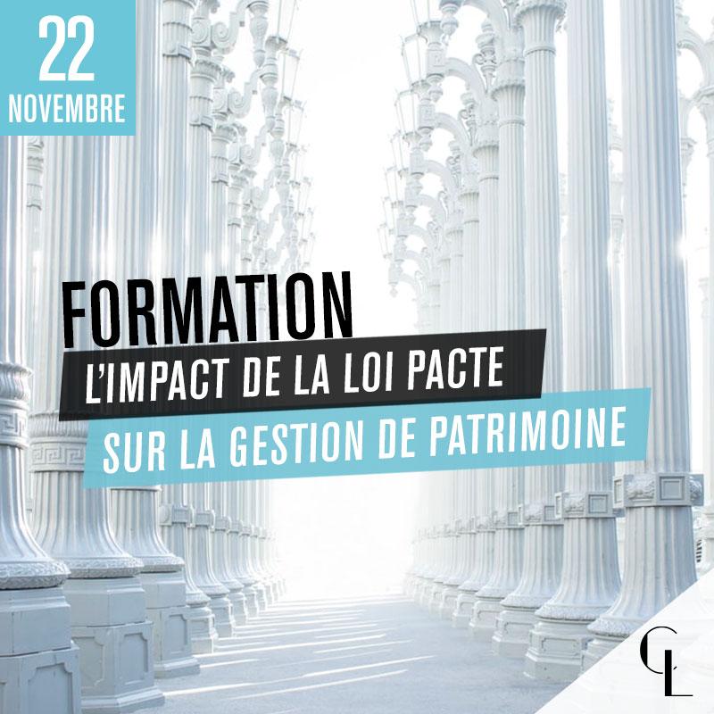 Formation : L'impact de la loi Pacte sur la gestion de patrimoine