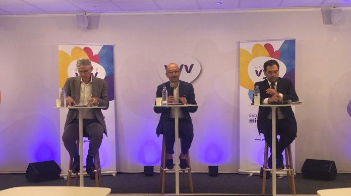 De gauche à droite : Stéphane Dedeyan, directeur général du groupe Vyv, Thierry Beaudet, président et Stéphane Junique, président de Vyv3.