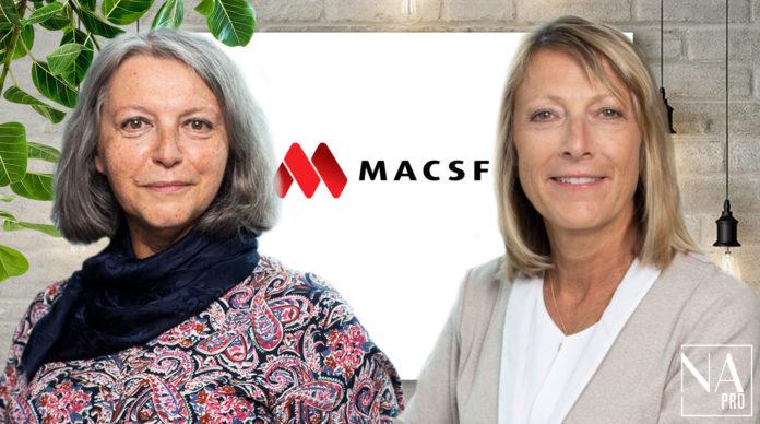 A gauche, Catherine Vinikoff, présidente de MACSF sgam. A droite, Laurence Carpentier, présidente de MACSF Prévoyance.