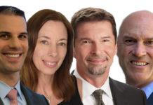 De gauche à droite : Neil Mayer, Lara Mowery, John Crichton, Jeffrey Livingston. Ils sont membres du comité exécutif de Guy Carpenter.
