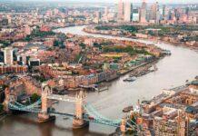 Vue aérienne de Londres au Royaume-Uni.