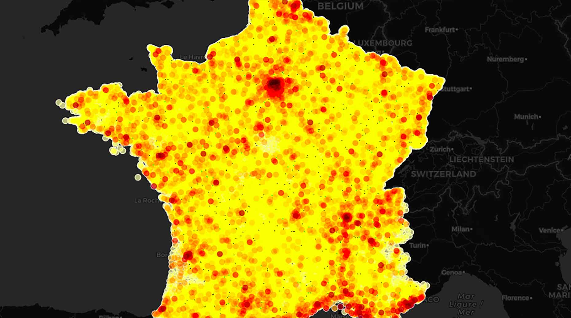 La carte des accidents survenus en France en 2019.